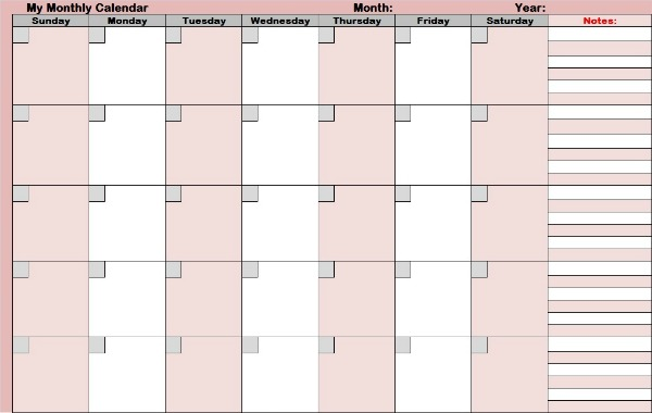 Blank monthly calendars that can help you monitor and scan your days of the month