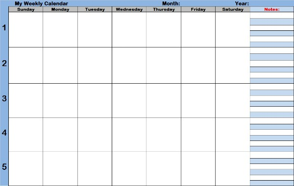 Blank Calendar With Days Of The Week : Blank weekly calendars for your days planning