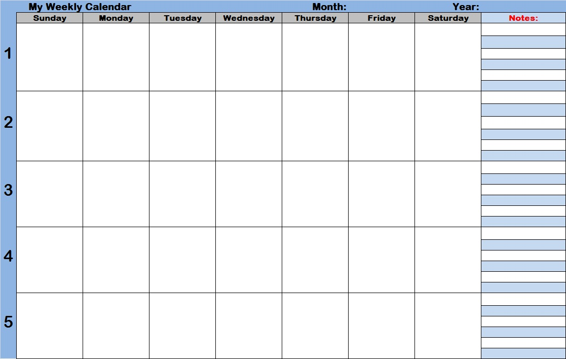 Blank weekly calendars printable planners jpg