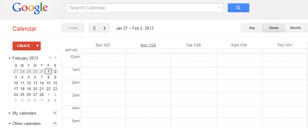 Google calendar interface and functions