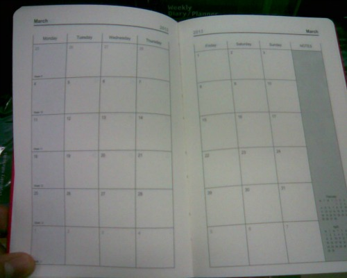 Month planners organizer type sample
