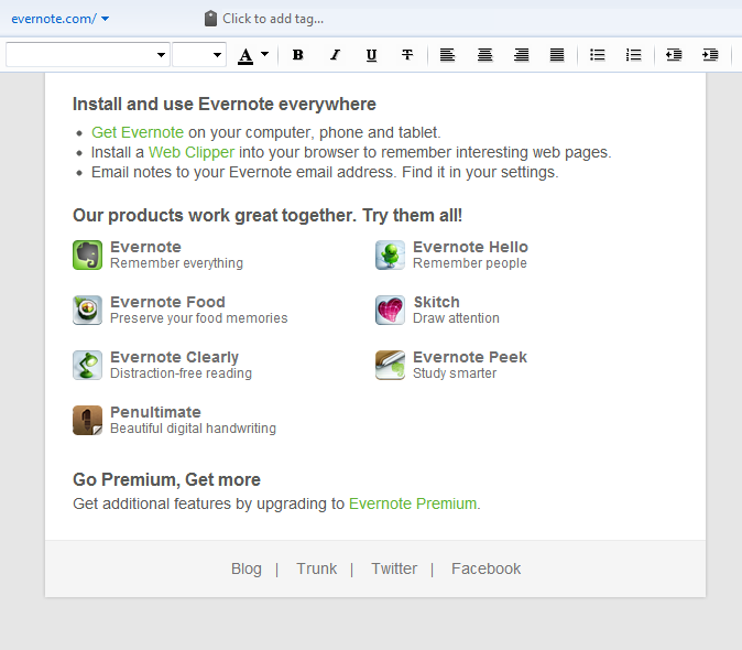 Evernote interface