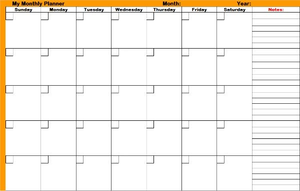 One of the printable monthly planners you can print and use
