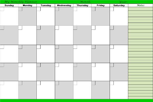 One of the useful printable monthly planners you can utilize